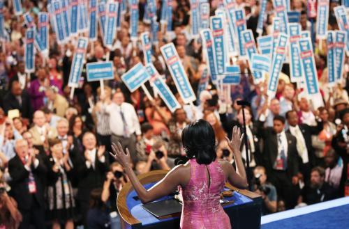 Michelle Obama Speaks-Rain Sends Acceptance Speech Indoors